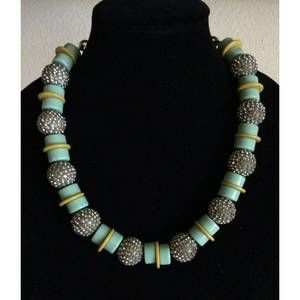 J.CREW Turquoise Pave Crystal Chunky Bead Necklace